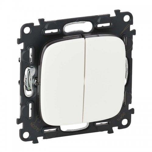 Механизм выключателя 2-кл. СП Valena Allure 10А IP20 250В с лицевой панелью; безвинтовые зажимы бел. Leg 752705