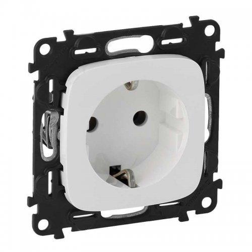 Механизм розетки Valena Allure 16А 250В 2К+З с лицевой панелью винтовые зажимы бел. Leg 753724