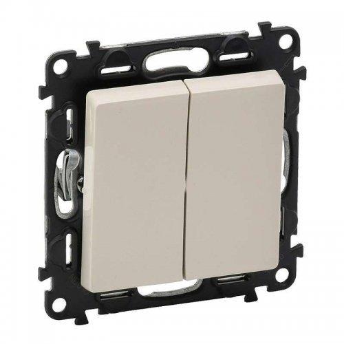 Механизм выключателя 2-кл. СП Valena Life 10А IP20 250В с лицевой панелью; безвинтовые зажимы сл. кость Leg 752505