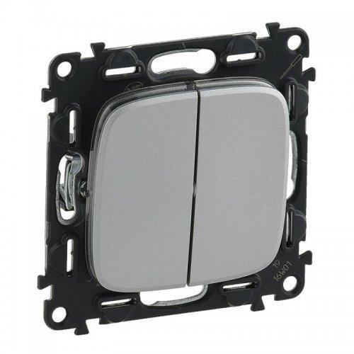 Механизм выключателя 2-кл. СП Valena Allure 10А IP20 250В с лиц. панелью безвинт. зажимы алюм. Leg 752905