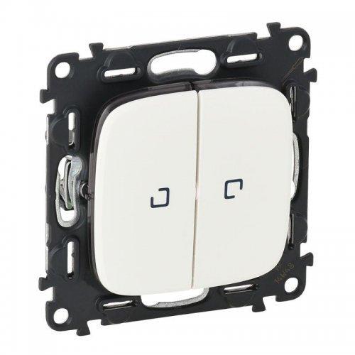 Механизм переключателя 2-кл. СП Valena Allure 10АХ IP20 250В с подсветкой с лиц. панелью белый Leg 752709
