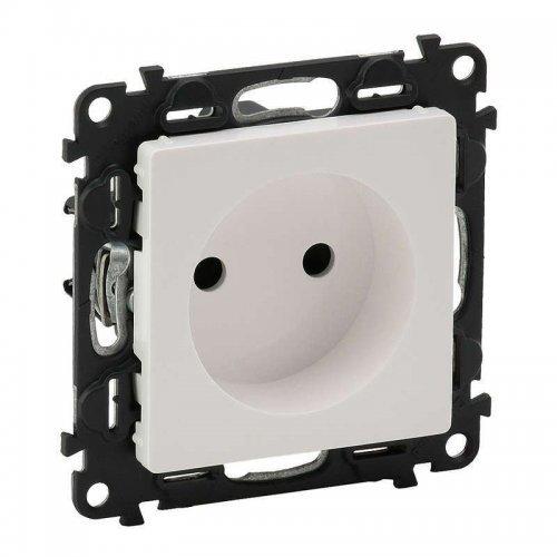 Механизм розетки 1-м СП Valena Life 2К 16А IP20 с лицевой панелью защ. шторки безвинт. зажимы бел. Leg 753416