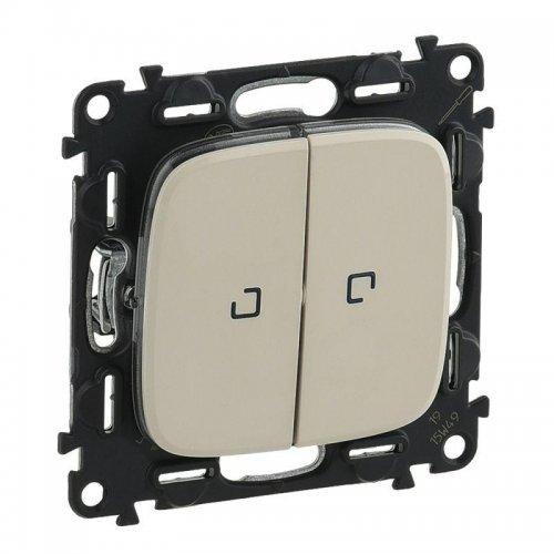 Механизм переключателя 2-кл. СП Valena Allure 10АХ IP20 250В с подсветкой с лиц. панелью сл. кость Leg 752809