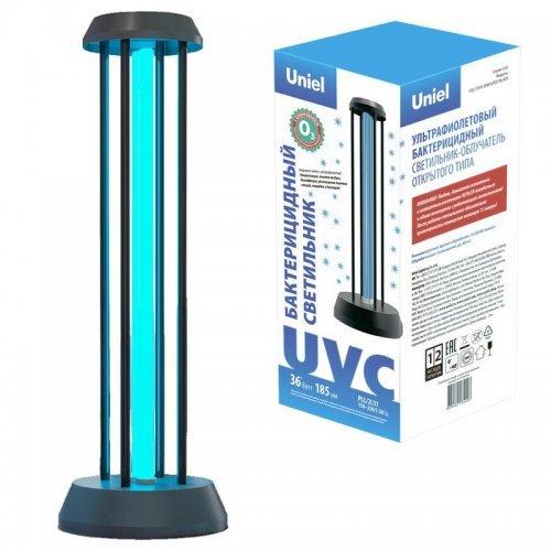 Облучатель бактерицидный ультрафиолетовый UGL-T01A-36W/UVCO BLACK настольный с озонированием 185нм с лампой корпус черн. Uniel UL-00007264