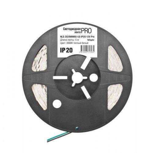 Лента светодиодная 71 703 NLS-3528WW60-4.8-IP20-12V-Pro R5 4.8Вт/м (уп.5м) Navigator 71703