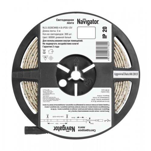 Лента светодиодная 71 762 NLS-3528CW60-4.8-IP20-12V R5 4.8Вт/м (уп.5м) Navigator 71762
