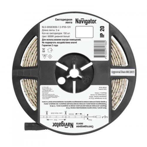 Лента светодиодная 71 766 NLS-5050CW30-7.2-IP20-12V R5 7.2Вт/м (уп.5м) Navigator 71766