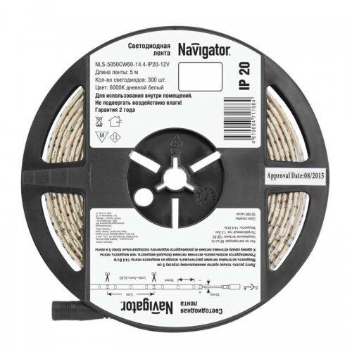 Лента светодиодная 71 768 NLS-5050CW60-14.4-IP20-12V R5 14.4Вт/м (уп.5м) Navigator 71768