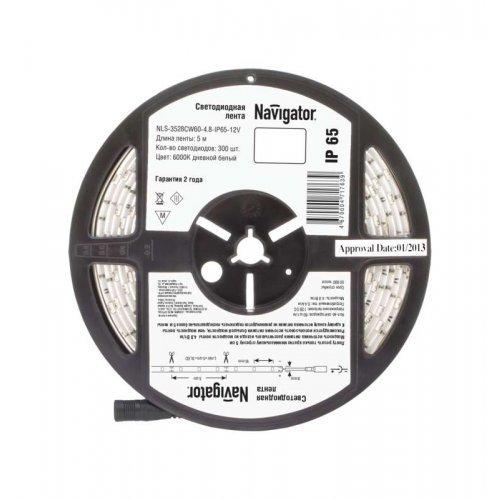 Лента светодиодная 71 763 NLS-3528CW60-4.8-IP65-12V R5 4.8Вт/м (уп.5м) Navigator 71763