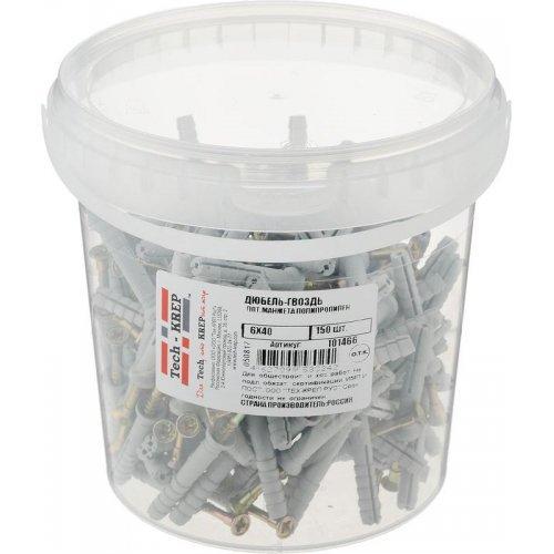Дюбель-гвоздь 6х40 с потайной манжетой полипропилен (уп.150шт) ведро Tech-Krep 101466