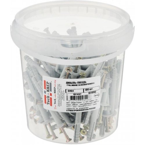 Дюбель-гвоздь 6х60 с грибовидной манжетой полипропилен (уп.100шт) ведро Tech-Krep 101990