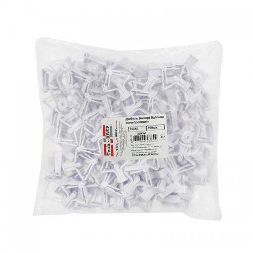 Дюбель (анкер) бабочка 10х50 полипропилен (уп.100шт) пакет Tech-Krep 111494