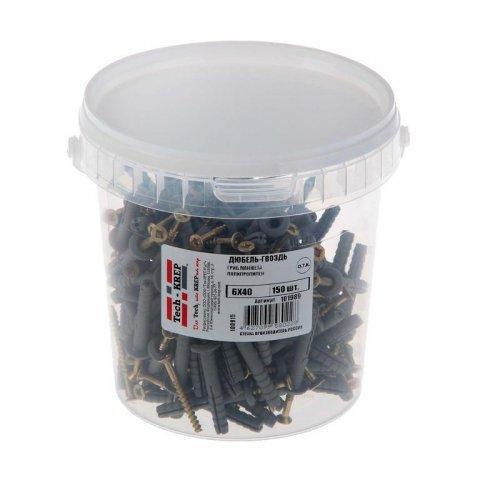 Дюбель-гвоздь 6х40 с грибовидной манжетой полипропилен (уп.150шт) ведро Tech-Krep 101989