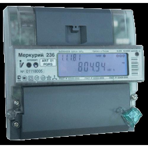Счетчик электроэнергии Меркурий 236 АRT-01 PQRS трехфазный многотарифный, 5(60), кл.точ. 1.0/2.0, D, ЖКИ, оптопорт, RS485