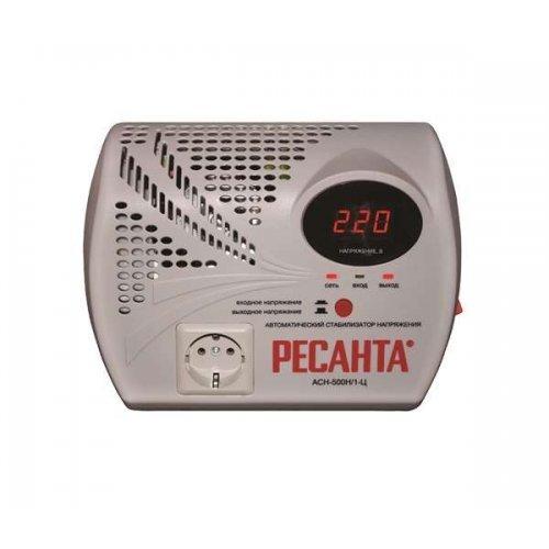 Стабилизатор напряжения АСН-500 Н/1-Ц 1ф 0.5кВт настен. с розеткой IP20 релейный Ресанта 63/6/9