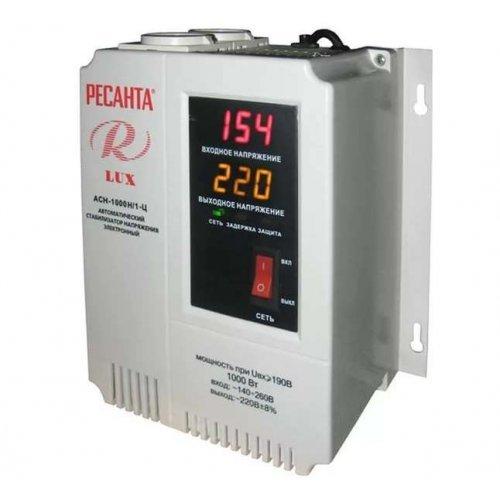 Стабилизатор напряжения АСН-1000 Н/1-Ц 1ф 1кВт настен. с одной розеткой IP20 релейный Lux Ресанта 63/6/14