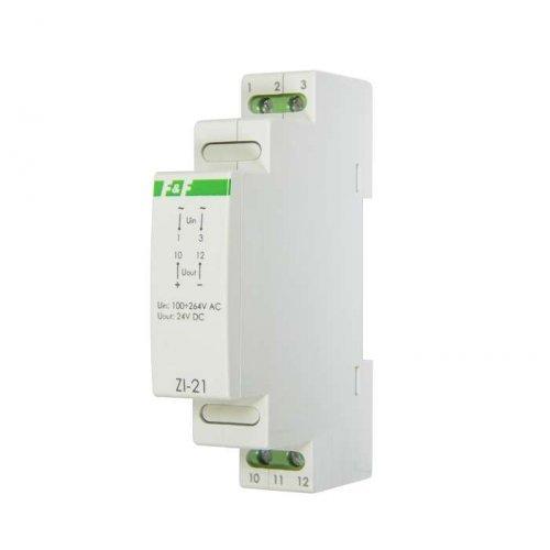Блок питания ZI-21 (импульсный; Uвых. 24В DC; монтаж на DIN-рейке 35мм; 1 модуль 90-264В AC 0.5А 12Вт IP20) F&F EA11.001.011