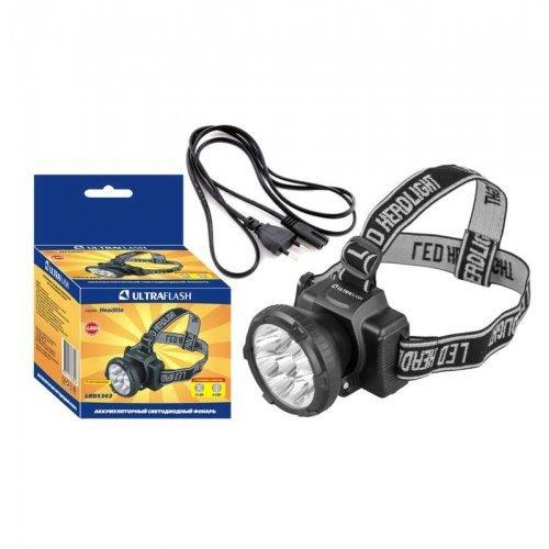 Фонарь налобный аккумуляторный LED 5363 (220В 9LED 2 режима черн.) Ultraflash 11257