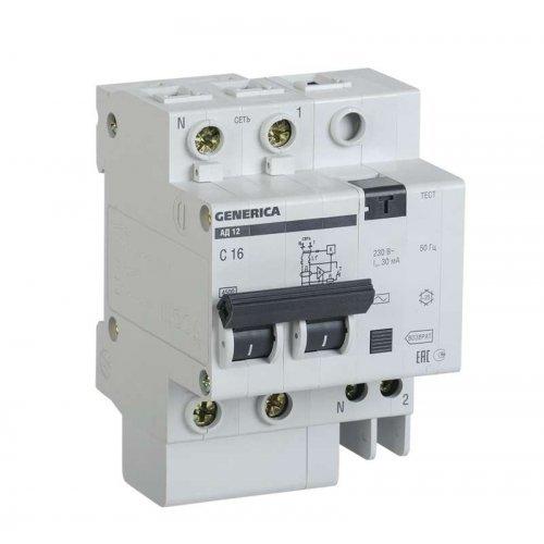 Выключатель автоматический дифференциального тока 2п 16А 30мА АД12 GENERICA ИЭК MAD15-2-016-C-030