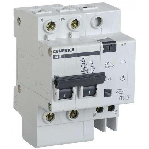 Выключатель автоматический дифференциального тока 2п 25А 30мА АД12 GENERICA ИЭК MAD15-2-025-C-030