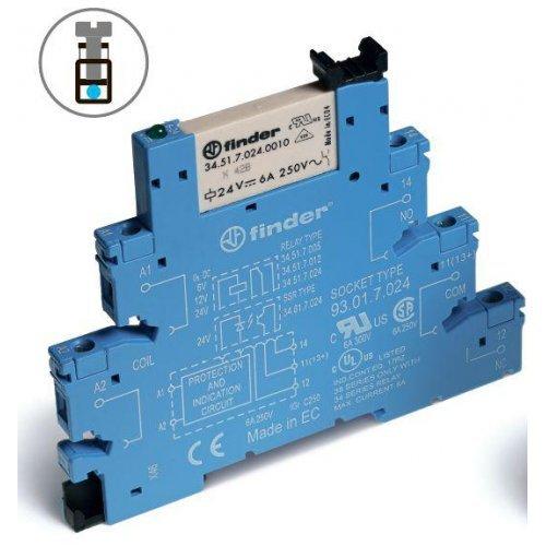 Модуль интерфейсный (сборка 34.51.7.024.0010 + 93.01.0.024) электромеханич. реле 1CO 6А AgNi 24В AC/DC IP20 винт. клеммы FINDER 385100240060