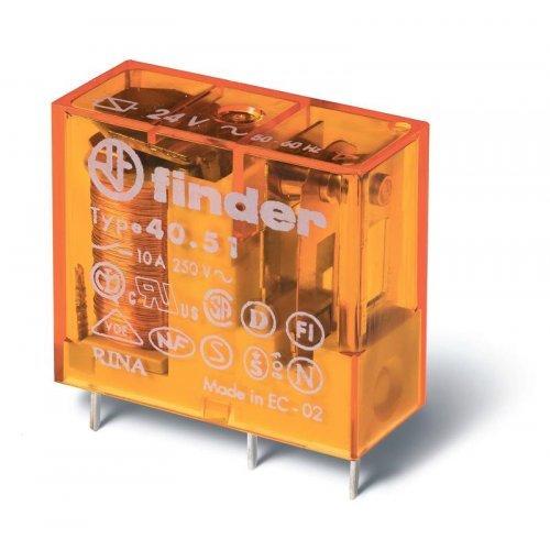 Реле электромеханическое миниатюрное универсальное монтаж на печатную плату или в розетку выводы с шагом 5мм 1CO 10А AgNi 24В DC RTII FINDER 405190240000