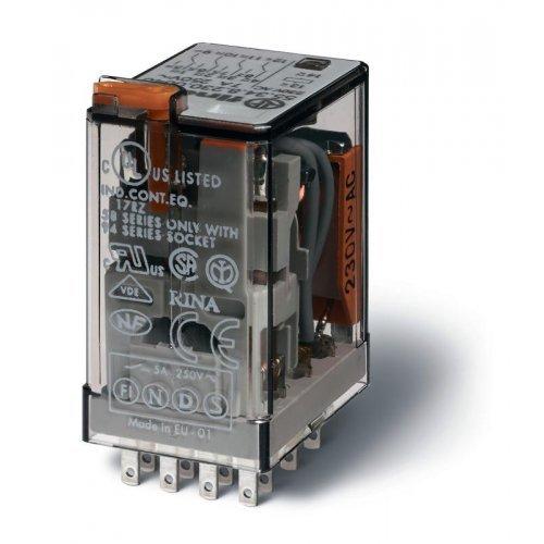 Реле миниатюрное универсальное электромеханич. монтаж в розетку 4CO 7А AgNi 220В DC RTI опции: кнопка тест + мех. индикатор FINDER 553492200040