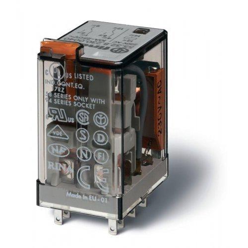 Реле миниатюрное универсальное электромеханич. монтаж в розетку 2CO 10А AgNi 230В AC RTI опции: кнопка тест + мех. индикатор FINDER 553282300040