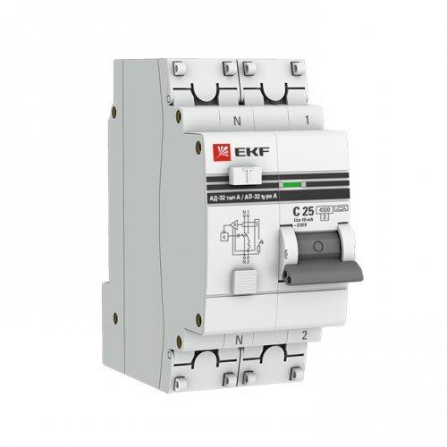 Выключатель автоматический дифференциального тока 1п+N C 63А 100мА тип AC 4.5кА АД-32 PROxima EKF DA32-63-100-pro