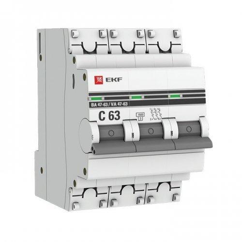 Выключатель автоматический трехполюсный 25А С ВА47-63 4.5кА PROxima