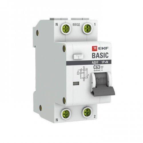 Выключатель автоматический дифференциального тока 1п+N C 40А 30мА тип АС эл. 4.5кА АД-12 Basic EKF DA12-40-30-bas