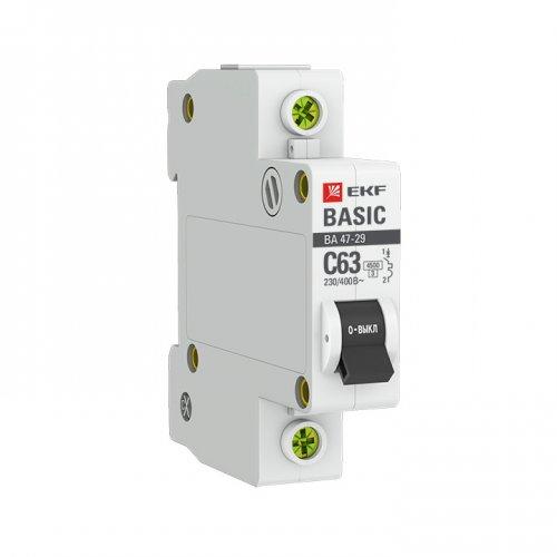 Выключатель автоматический модульный 1п B 16А 4.5кА ВА 47-29 Basic EKF mcb4729-1-16-B