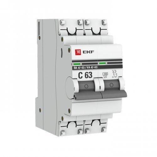 Выключатель автоматический двухполюсный 10А С ВА47-63 4.5кА PROxima