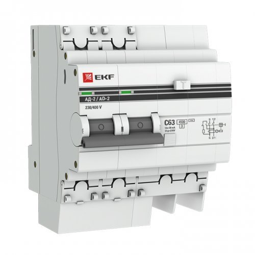 Выключатель автоматический дифференциального тока 2п 4мод. C 50А 100мА тип AC S 4.5кА АД-2 PROxima EKF DA2-50-100S-pro