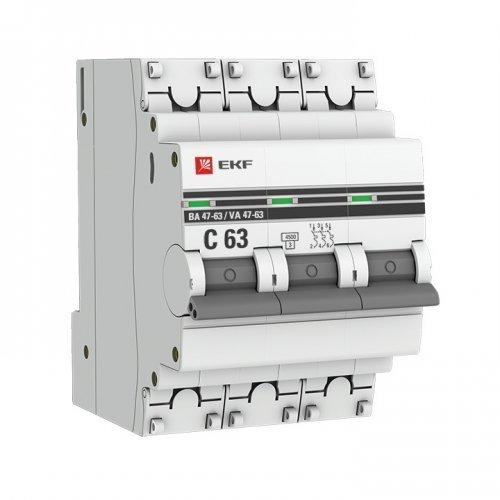 Выключатель автоматический трехполюсный 32А С ВА47-63 4.5кА PROxima