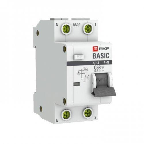 Выключатель автоматический дифференциальный 1P+N 25А 30мА электронный тип АС C 4.5кА АД-12 Basic