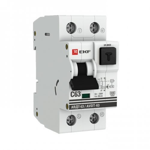 Выключатель автоматический дифференциального тока 1п+N 2мод. С 50А 100мА тип А 6кА АВДТ-63 (электрон.) PROxima EKF DA63-50-100e