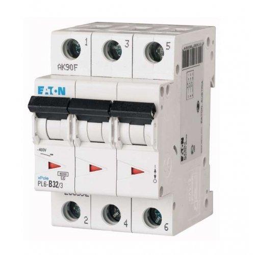 Выключатель автоматический модульный 3п C 32А 6кА PL6-C32/3 EATON 286604