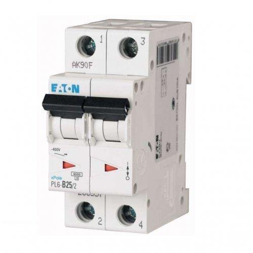 Выключатель автоматический модульный 2п C 25А 6кА PL6-C25/2 EATON 286569