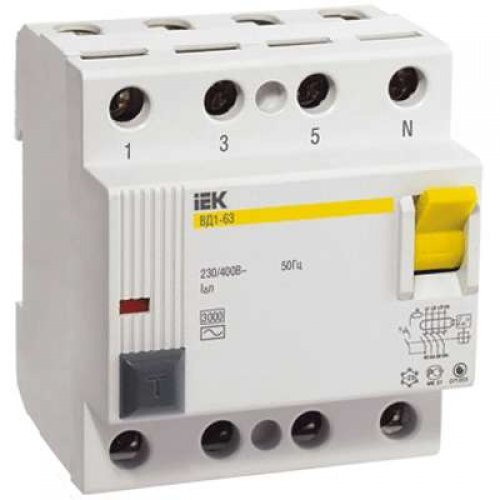 Выключатель дифференциального тока (УЗО) 4п 80А 300мА тип AC ВД1-63 ИЭК MDV10-4-080-300