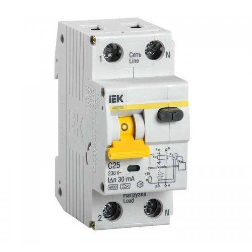 Выключатель автоматический дифференциального тока 2п (1P+N) C 25А 30мА тип A 6кА АВДТ-32 ИЭК MAD22-5-025-C-30