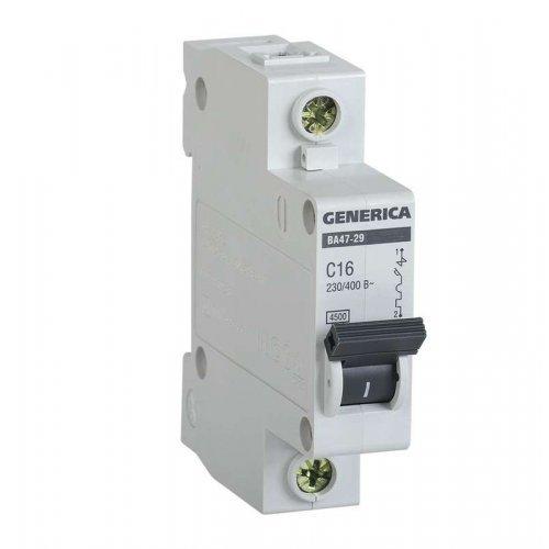 Выключатель автоматический модульный 1п C 16А 4.5кА ВА47-29 GENERICA ИЭК MVA25-1-016-C
