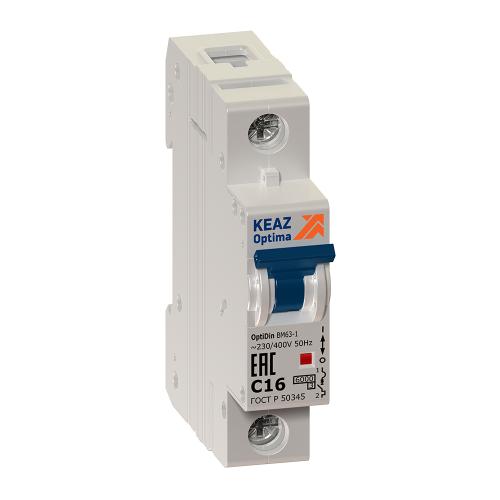 Выключатель автоматический модульный 1п C 25А 6кА OptiDin BM63-1C25-УХЛ3 КЭАЗ 260506