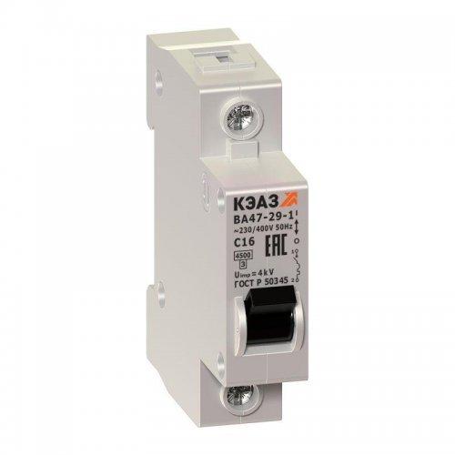 Выключатель автоматический модульный 1п C 16А 4.5кА ВА47-29-1C16-УХЛ3 КЭАЗ 141493
