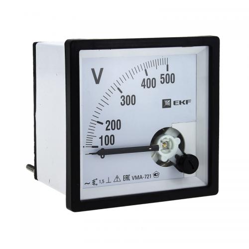 Вольтметр аналоговый VMA-721 на панель 72х72 (квадратный вырез) 500В прямое подкл. PROxima EKF vm-a721-500/vma-721-500