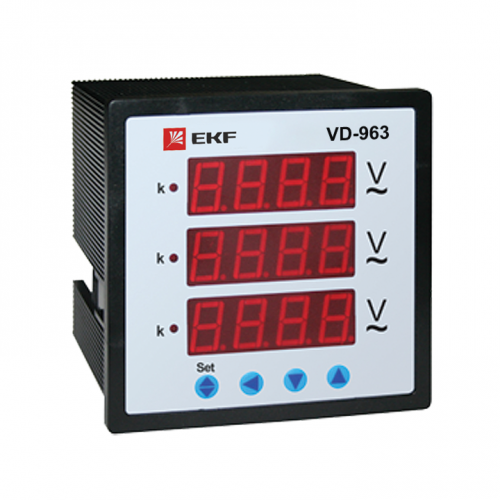 Вольтметр цифровой VD-963 на панель 96х96 трехфазный EKF vd-963