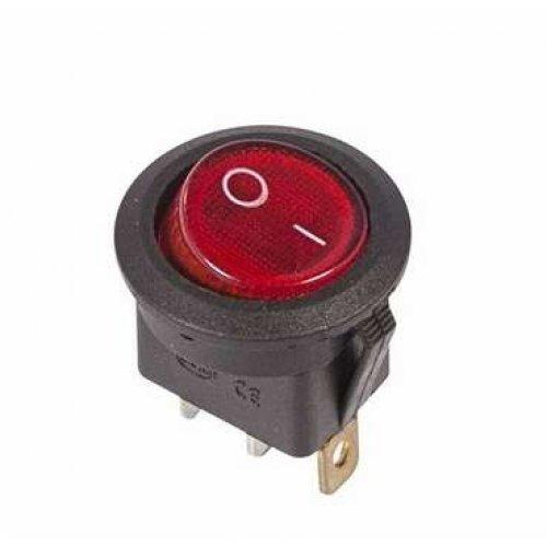 Выключатель клавишный круглый 250В 6А (3с) ON-OFF красн. с подсветкой (RWB-214 SC-214 MIRS-101-8) Rexant 36-2570