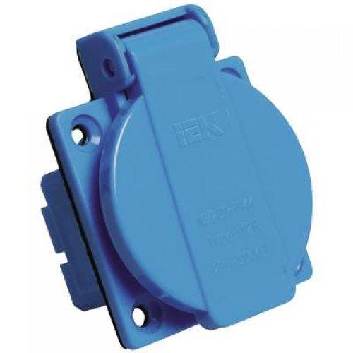 Розетка панельная СП РП10-3 16А 250В 2P+PE с защ. крышкой IP44 ИЭК PSR61-016-3