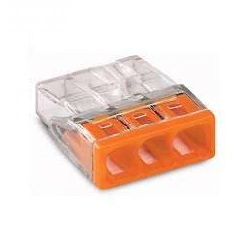 Клемма 3x2.5мм оранжевая/прозрачная