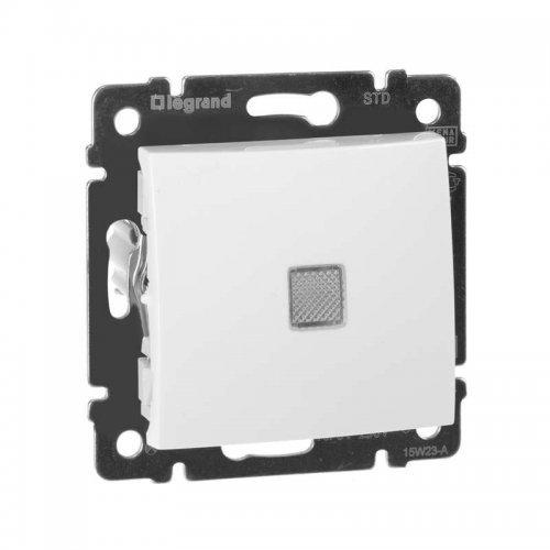 Механизм выключателя 1-кл. СП Valena 10А IP31 с зел. инд. бел. Leg 774410